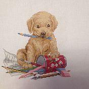 """Картины и панно ручной работы. Ярмарка Мастеров - ручная работа Вышитая картина """" малыш лабрадор"""". Handmade."""