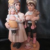 Винтажные предметы интерьера ручной работы. Ярмарка Мастеров - ручная работа 29. статуэтка фарфор BILLY & BRENNA дети с игрушками JAN HAGARA. Handmade.