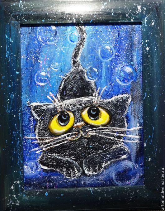"""Животные ручной работы. Ярмарка Мастеров - ручная работа. Купить Рельефное панно """"Черной ночью черный кот"""". Handmade. страсть"""