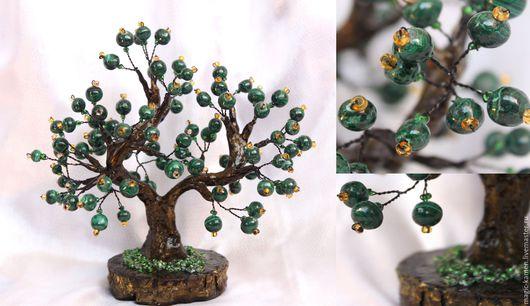Персональные подарки ручной работы. Ярмарка Мастеров - ручная работа. Купить Дерево из натурального малахита. Handmade. Зеленый, дерево