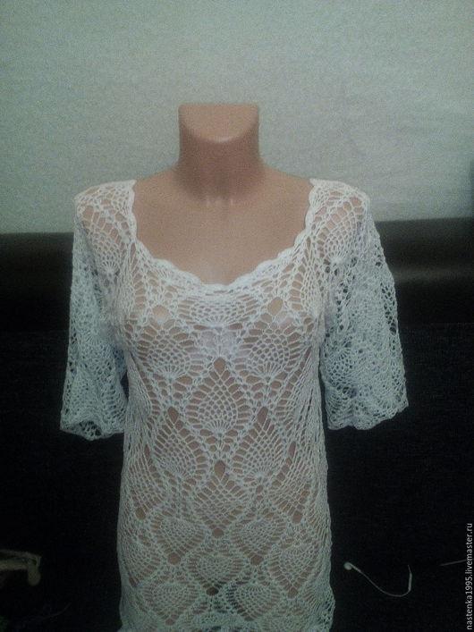 Пляжные платья ручной работы. Ярмарка Мастеров - ручная работа. Купить длинное пляжное платье туника. Handmade. Белый