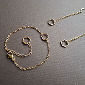 Украшения handmade. Livemaster - original item Cell. Cute bracelet and long earrings. Gold plated. Handmade.
