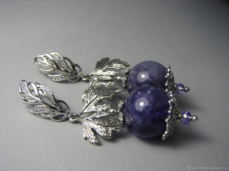 Earrings with amethyst 'amethyst Magic', Earrings, Moscow,  Фото №1