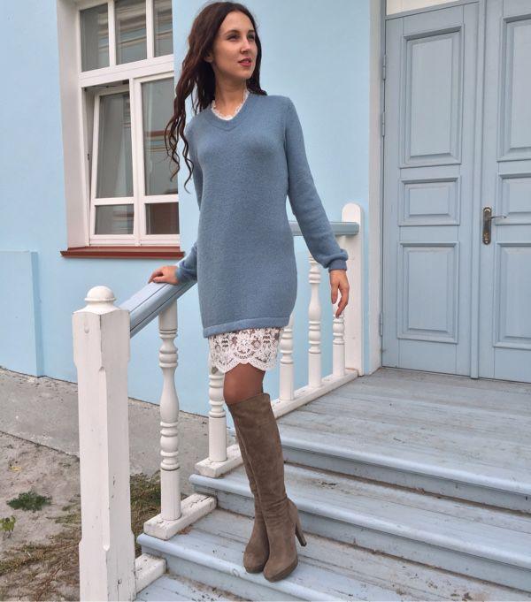 Свитер платье с кружевом купить