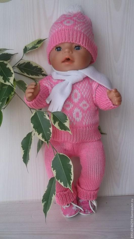 Одежда для кукол ручной работы. Ярмарка Мастеров - ручная работа. Купить Вязаный костюм для Беби Борн 43 см для девочки. Handmade.