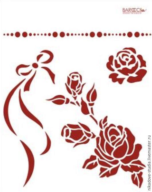 Декупаж и роспись ручной работы. Ярмарка Мастеров - ручная работа. Купить Розы (Л-09) - трафарет barocci. Handmade. Белый