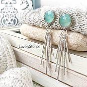 Украшения handmade. Livemaster - original item Stud earrings with mint crystals and tassels long earrings. Handmade.