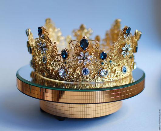 Диадемы, обручи ручной работы. Ярмарка Мастеров - ручная работа. Купить Большая золотая корона. Handmade. Золотой, корона для невесты