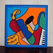 Картины ручной работы. Ярмарка Мастеров - ручная работа Картина вязанная из пряжи Музыкальные инструменты 40 х 40 см.. Handmade.