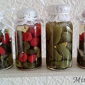 Куклы и игрушки handmade. Livemaster - original item Dollhouse food: A jar of pickled cucumbers, tomatoes. Handmade.