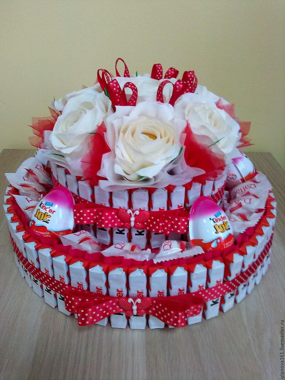 Купить Тортики из киндеров - торт из конфет, подарок, подарок на день рождения, киндер сюрприз