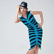 Одежда handmade. Livemaster - original item MG_029 dancing SKELETON mini Dress in black and turquoise stripe. Handmade.