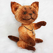 Куклы и игрушки handmade. Livemaster - original item Cat. Red cat Teddy with a glass pendant. Handmade.