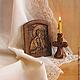 `Ангел-хранитель` миниатюрная резная икона из дерева
