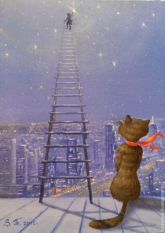 Юмор ручной работы. Ярмарка Мастеров - ручная работа. Купить Авторская картина Звезда для любимой.. Handmade. Синий, лестница в небо