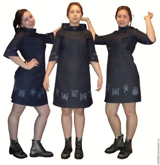 Платья ручной работы. Ярмарка Мастеров - ручная работа. Купить Джинсовое платье. Handmade. Синий, роспись по ткани