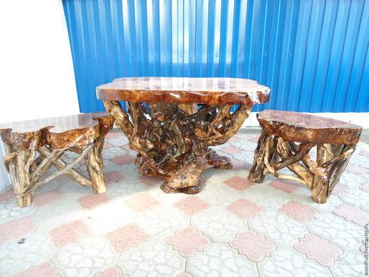 Деревянный стол из массива горного тополя уникальная мебель