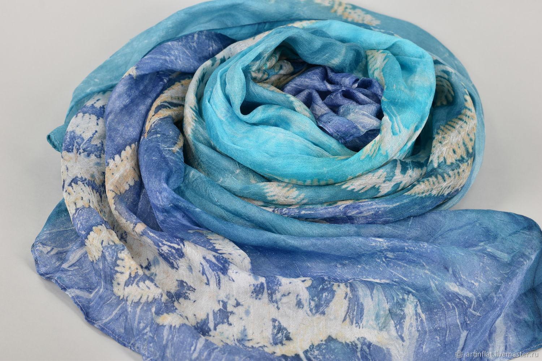 Silk scarf 'Cote d'azur' fern prints, Scarves, Moscow,  Фото №1