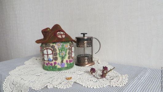 Кухня ручной работы. Ярмарка Мастеров - ручная работа. Купить Грелка - домик Гостеприимный дом. Handmade. Бежевый, домик для чая