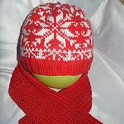 Работы для детей, ручной работы. Ярмарка Мастеров - ручная работа Шапочка носочки варежки скандинавские снежинки. Handmade.