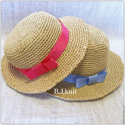 Шляпы ручной работы. Ярмарка Мастеров - ручная работа. Купить Соломенные шляпки для мамы и дочки. Handmade. Бежевый, шляпка женская