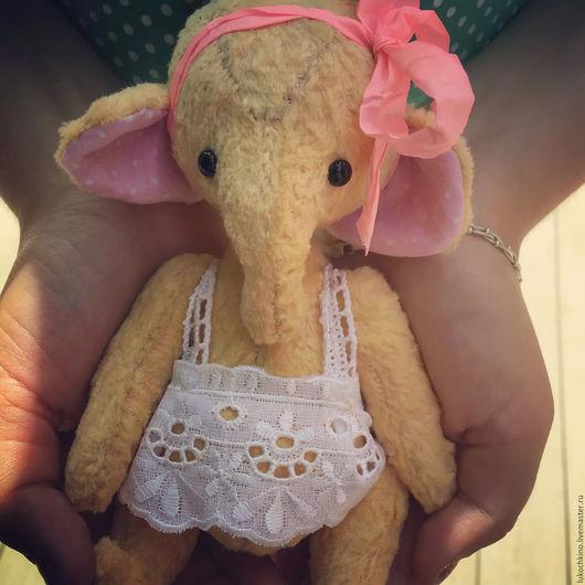 Мишки Тедди ручной работы. Ярмарка Мастеров - ручная работа. Купить слоненок Моня. Handmade. Желтый, тедди слон, слон