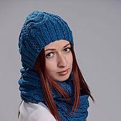 """Аксессуары ручной работы. Ярмарка Мастеров - ручная работа Комплект шапка и шарф снуд """"Джинсовый стиль"""". Handmade."""