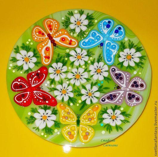 """Тарелки ручной работы. Ярмарка Мастеров - ручная работа. Купить Тарелочка """"Танец бабочек"""". Handmade. Ярко-зелёный, летний"""