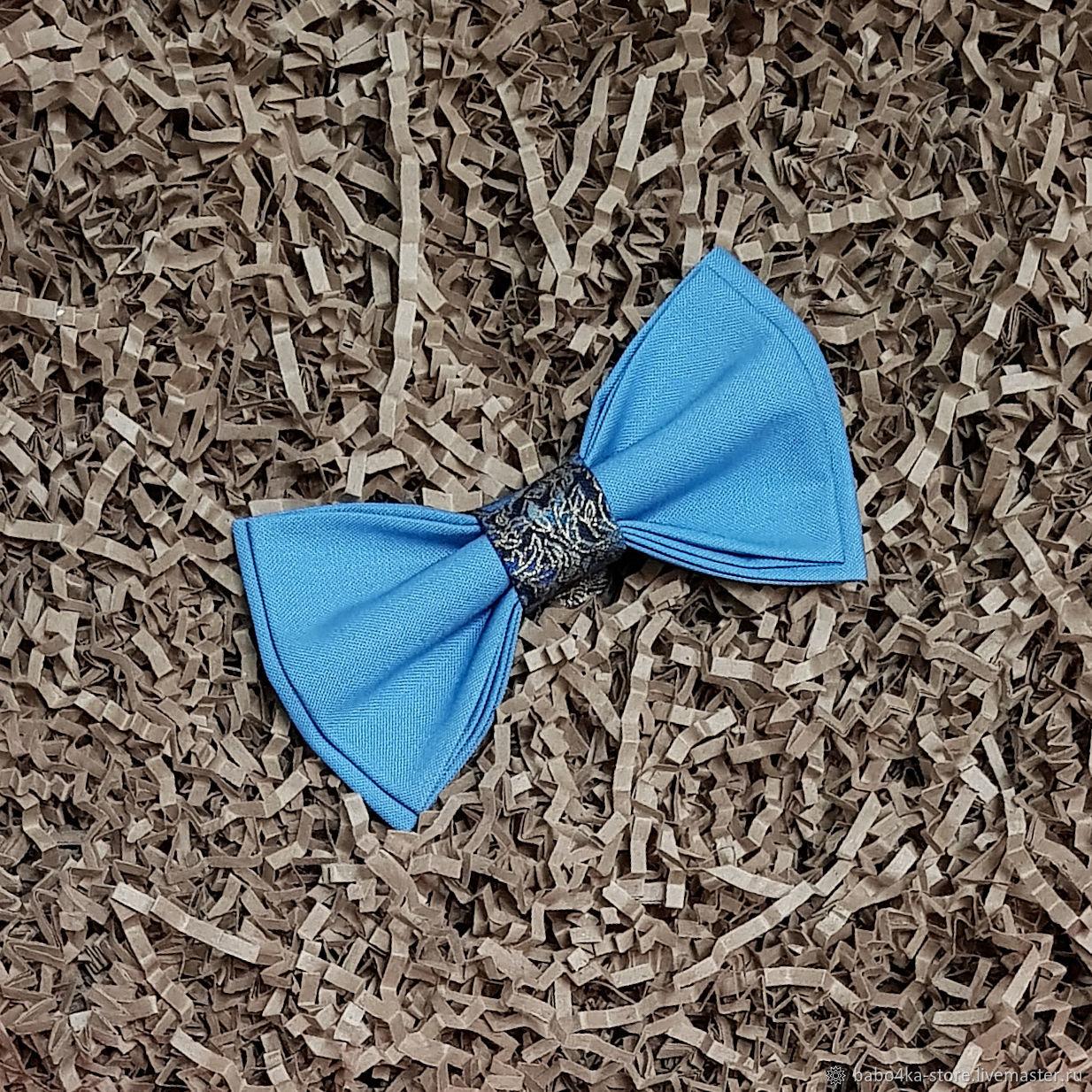Голубой галстук-бабочка с декоративной серединкой, Галстуки, Санкт-Петербург,  Фото №1