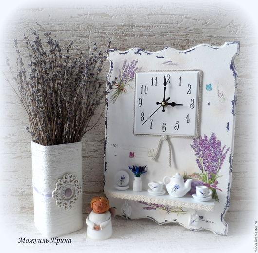"""Часы для дома ручной работы. Ярмарка Мастеров - ручная работа. Купить Часы  с полочкой """"Лаванда"""" (""""В стиле прованс""""). Handmade."""