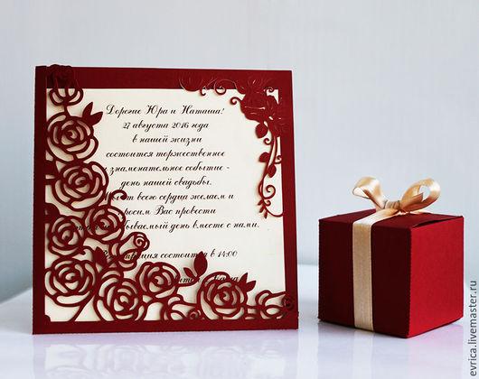 """Свадебные аксессуары ручной работы. Ярмарка Мастеров - ручная работа. Купить """"Розы"""" приглашения на свадьбу. Handmade. Бордовый, бумага"""