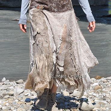 "Одежда ручной работы. Ярмарка Мастеров - ручная работа Шёлковая, валяная юбка ""Эко-2"". Handmade."