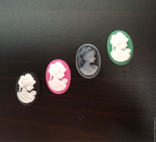 Для украшений ручной работы. Ярмарка Мастеров - ручная работа. Купить Камея кабошон овал чёрный, розовый, зелёный, серый, белый. Handmade.