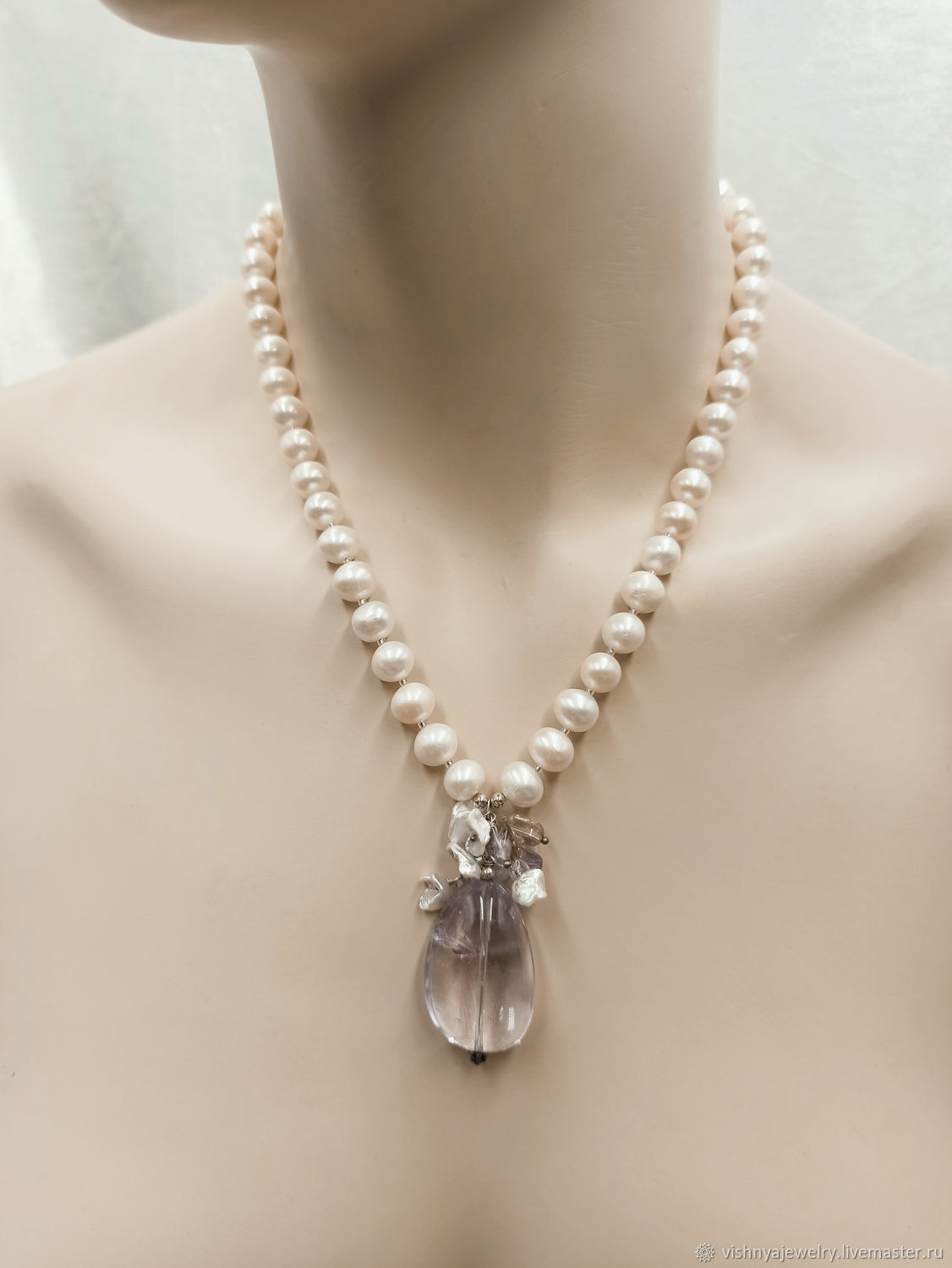 Necklace Pearl Silver 925 Amethyst Recognition, Necklace, Moscow,  Фото №1