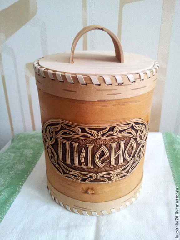 Box of birch bark for storage of wheat. Packaging for cereals, Jars, Tomsk,  Фото №1