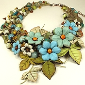 Украшения handmade. Livemaster - original item Waltz Sunny Turquoise. Necklace, flowers. Natural stones, leather. Handmade.