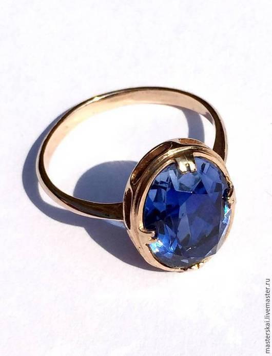 """Кольца ручной работы. Ярмарка Мастеров - ручная работа. Купить Кольцо """"Синь"""" - сапфир, золото 585. Handmade. Тёмно-синий"""