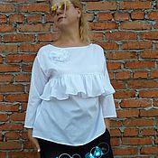 Одежда ручной работы. Ярмарка Мастеров - ручная работа Блузка белая #07  Офисная блузка. Handmade.