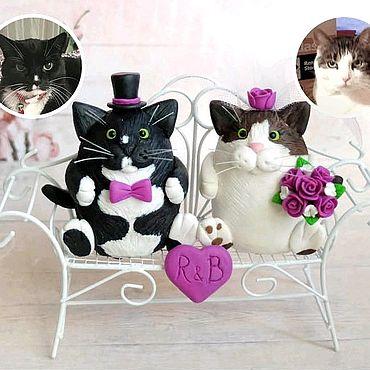 Свадебный салон ручной работы. Ярмарка Мастеров - ручная работа Свадебные фигурки Коты на торт (по фото). Handmade.