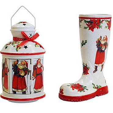 """Подарки к праздникам ручной работы. Ярмарка Мастеров - ручная работа Набор """"Дед мороз"""": кашпо-сапожок и фонарь-подсвечник. Handmade."""