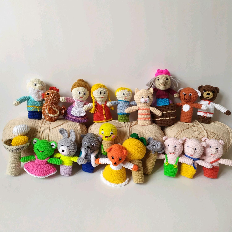 Большой набор сказок,пальчиковый вязаный театр (кукольный театр), Кукольный театр, Москва,  Фото №1