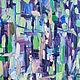 Лес картина Еловый лес Зеленый голубой синий фиолетовый бежевый Летний пейзаж картина Картина лето масло пейзаж