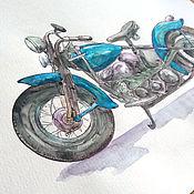 Подарки к праздникам handmade. Livemaster - original item Motorcycle Watercolor - Harley Davidson bike. Handmade.