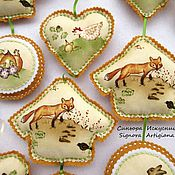 Сувениры и подарки handmade. Livemaster - original item Spring textile pendants from felt and fabric Fox Bunny. Handmade.