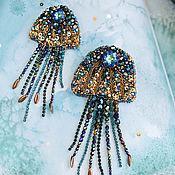 """БРОШЬ медуза """"Волшебство моря , морская брошь с кристаллами Swarovski"""