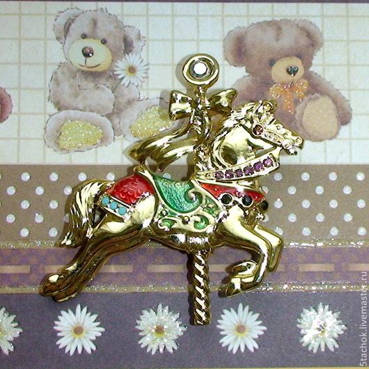 """Винтажные украшения. Ярмарка Мастеров - ручная работа. Купить Брошь """"Карусельная лошадка"""" под золото, эмаль, стразы (Danecraft США). Handmade."""
