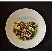 Винтаж handmade. Livemaster - original item English Plate with hunting Royal Worcester. Handmade.