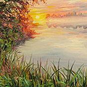 Картины и панно ручной работы. Ярмарка Мастеров - ручная работа Рассвет на реке. Handmade.