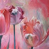 Картины и панно ручной работы. Ярмарка Мастеров - ручная работа Тюльпаны маслом на холсте. Handmade.