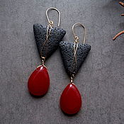 Украшения handmade. Livemaster - original item Large geometric earrings with lava. Handmade.